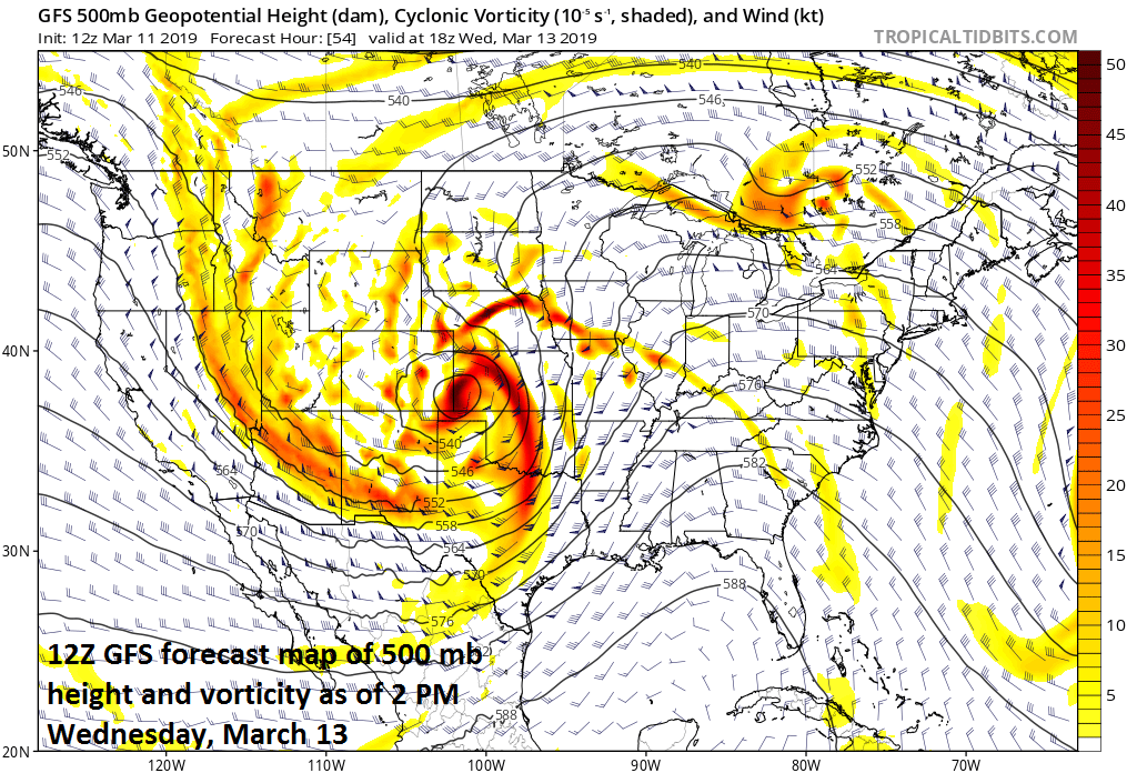 Very vigorous energy in the upper atmosphere will be a key player in the formation of this strong storm system; courtesy NOAA/EMC, tropicaltidbits.com