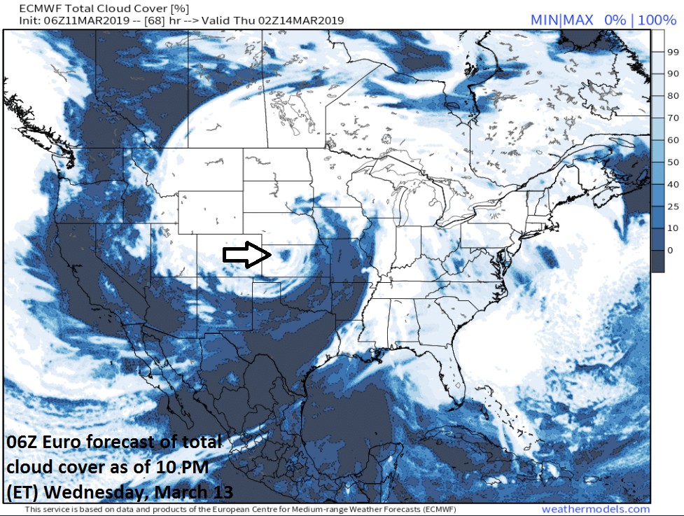 """The powerhouse storm system may develop an """"eye"""" late Wednesday in much the same manner as a hurricane; courtesy ECMWF, weathermodels.com (Dr. Ryan Maue, twitter)"""
