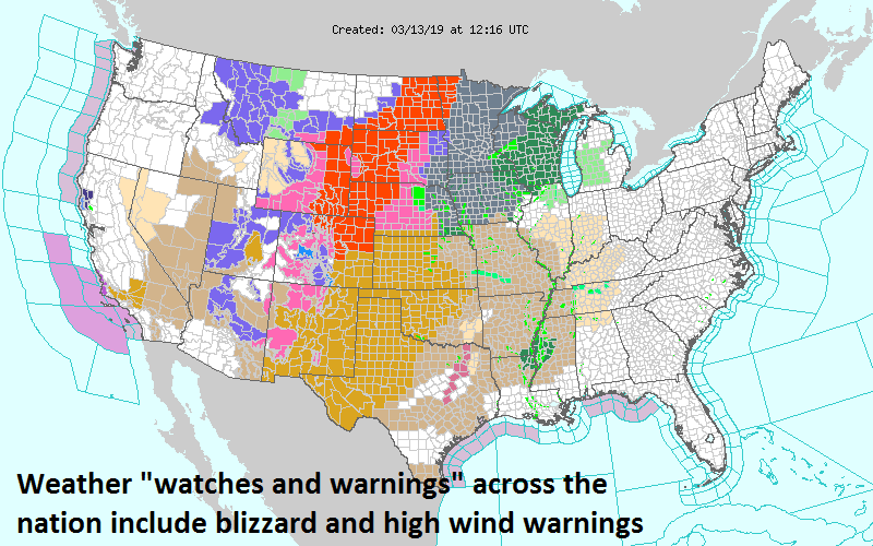 Numerous watches and warnings have been posted by NOAA across the nation as this powerhouse storm system will have wide-ranging impacts; map courtesy NOAA