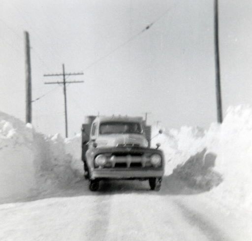 Truck delivers fuel in York County, PA after the great blizzard of March 18-21, 1958