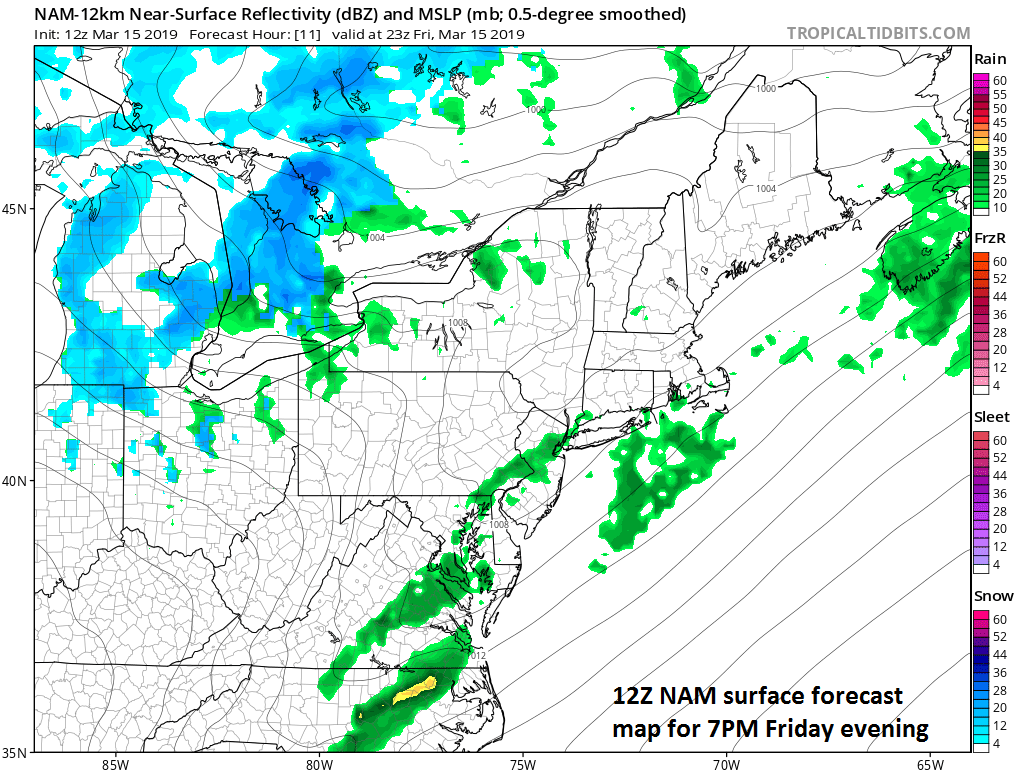Cold frontal system will increase the chance for showers and thunderstorms later this afternoon into the evening; courtesy NOAA/EMC, tropicaltidbits.com