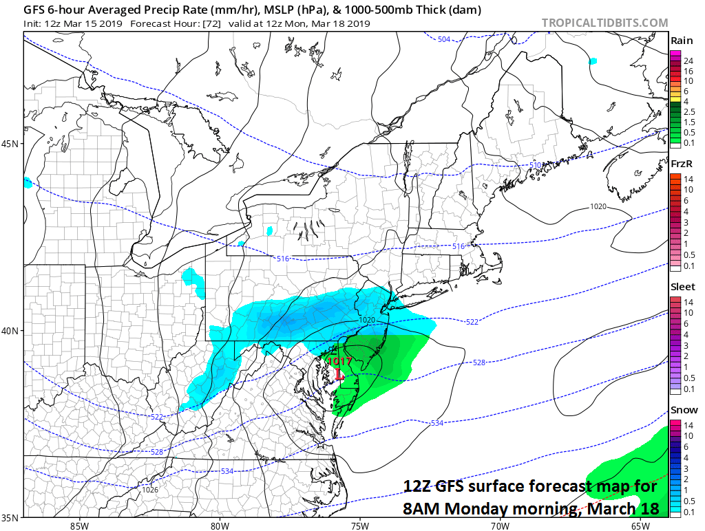 "Snow (shown in blue) could break out in portions of the Mid-Atlantic region late Sunday night/early Monday as ""clipper"" system arrives; courtesy NOAA/EMC, tropicaltidbits.com    Meteorologist Paul Dorian Perspecta, Inc.  perspectaweather.com   Video discussion:"