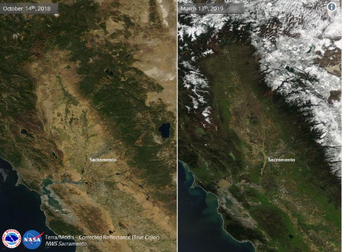 What a difference 5 months can make…snow capped mountains and plenty of greenery now in the valley. You can also see water in the Yolo Bypass west of Sacramento from recent rains on the right image. Courtesy NOAA/NWS-Sacramento