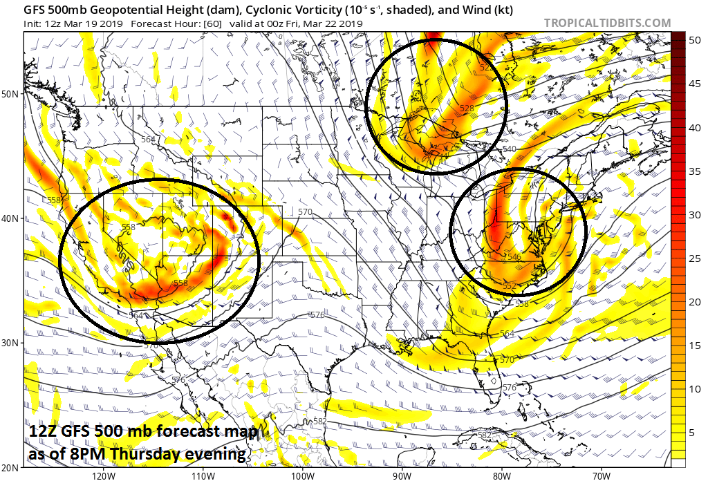 Three strong waves of energy in the upper atmosphere will play a role in the weather around here on Thursday (first wave), Friday (second wave) and early-to-mid next week (third wave); courtesy NOAA/EMC, tropicaltidbits.com