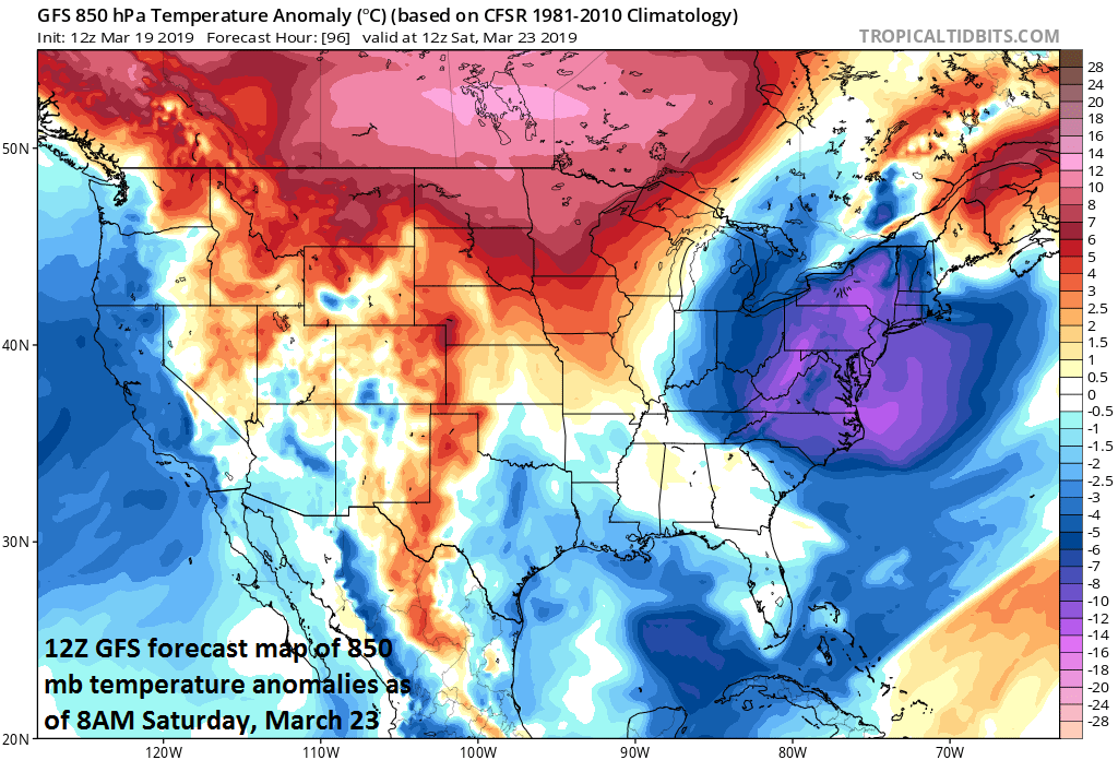A cold air outbreak at the end of the week will send temperatures well below-normal for the first part the weekend; courtesy NOAA/EMC, tropicaltidbits.com