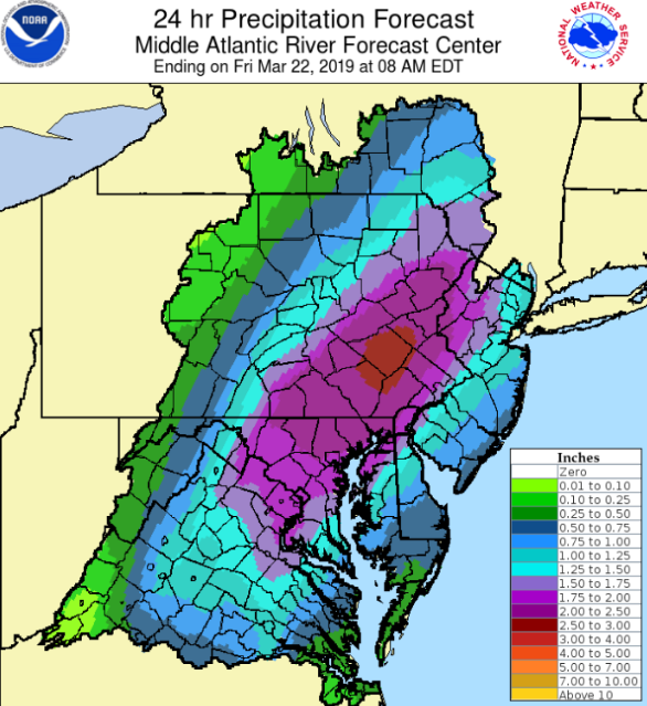 Total rainfall amounts may exceed two inches in parts of the Mid-Atlantic region by later tonight and this can result in localized flash flooding given the already well-saturated grounds; map courtesy NOAA