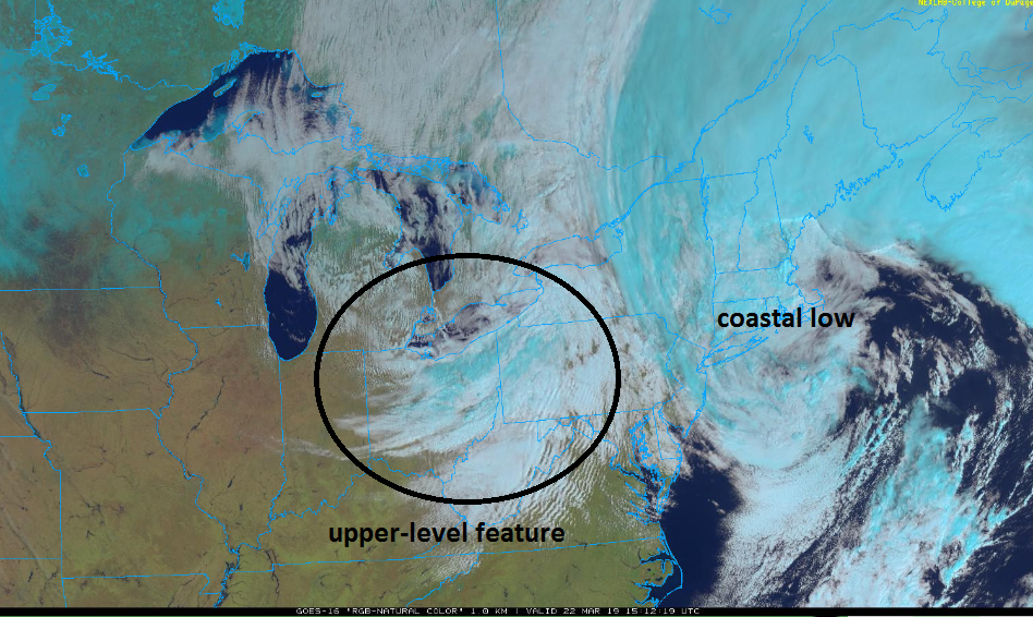 Satellite image at mid-day highlights the coastal low and cloud bands associated with an approaching wave of energy in the upper atmosphere; courtesy NOAA, College of DuPage)