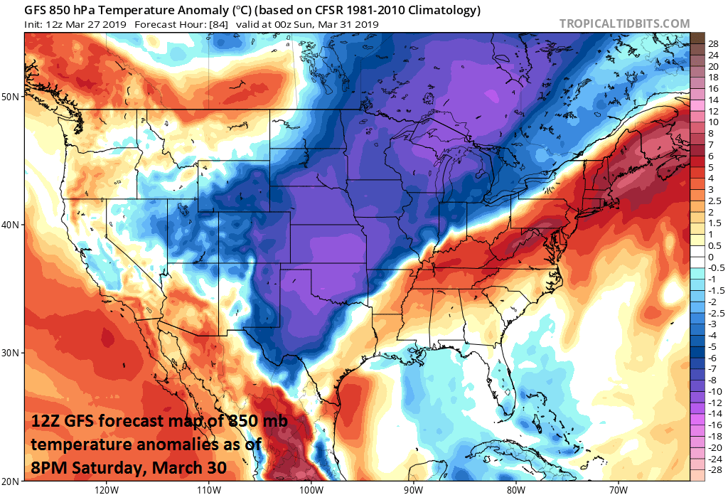 Warmer-than-normal conditions for much of the eastern US early this weekend; courtesy NOAA/EMC, tropicaltidbits.com