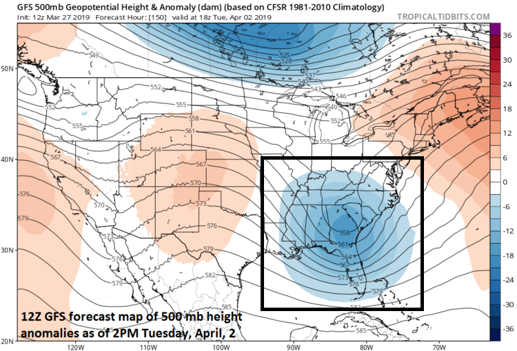 Deep upper-level low over the Southeast US could spawn a coastal storm during the first half of next week; courtesy NOAA/EMC, tropicaltidbits.com