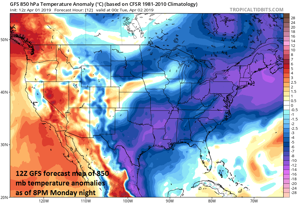 Much colder-than-normal air will result in another early spring night with below-freezing low temperatures in much of the Mid-Atlantic region; courtesy NOAA, tropicaltidbits.com