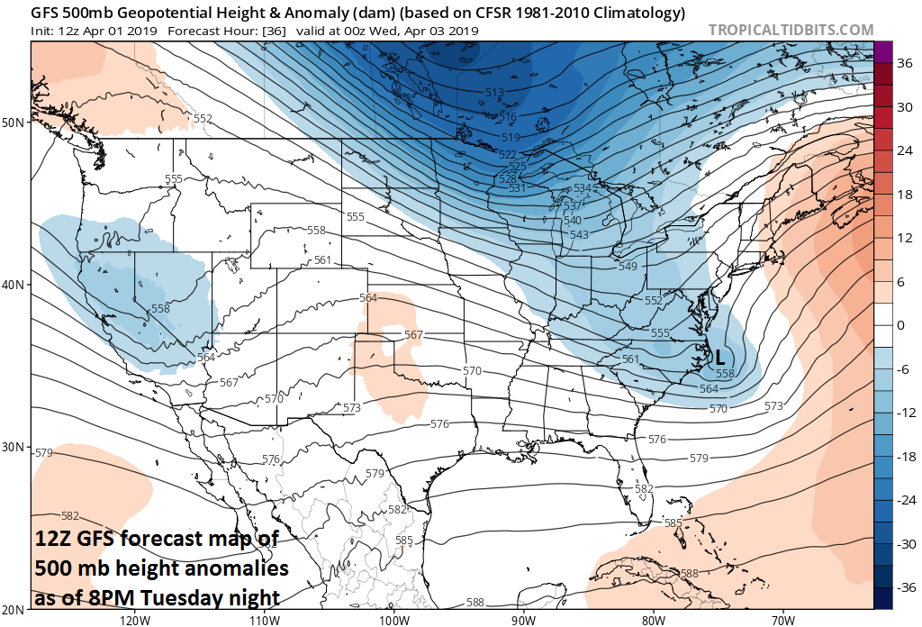 """A """"negatively-tilted"""" trough axis (i.e., oriented from NW-to-SE) will help spawn a strong nor'easter late tomorrow that will likely skirt the Mid-Atlantic's I-95 corridor, but it could impact more severely eastern New England; courtesy NOAA/EMC, tropicaltidbits.com"""