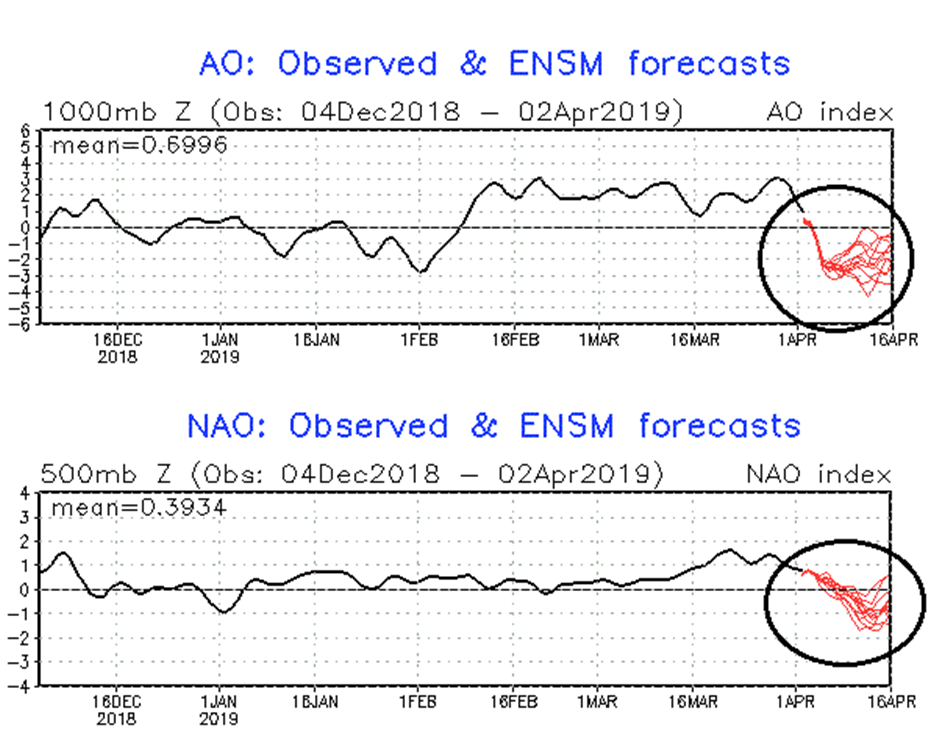 Teleconnection indices such as the Arctic Oscillation (AO) and its closely-related cousin known as the North Atlantic Oscillation (NAO) suggest more cold air outbreaks are likely in coming days in the eastern US as both are forecasted to drop into negative territory. Courtesy NOAA