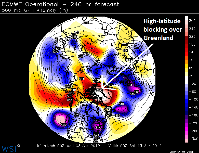 """""""High-latitude blocking"""" is likely to set up over northern Canada and Greenland in about ten days or so. Forecast map courtesy ECMWF, WSI, Inc. (twitter Michael Ventrice)."""