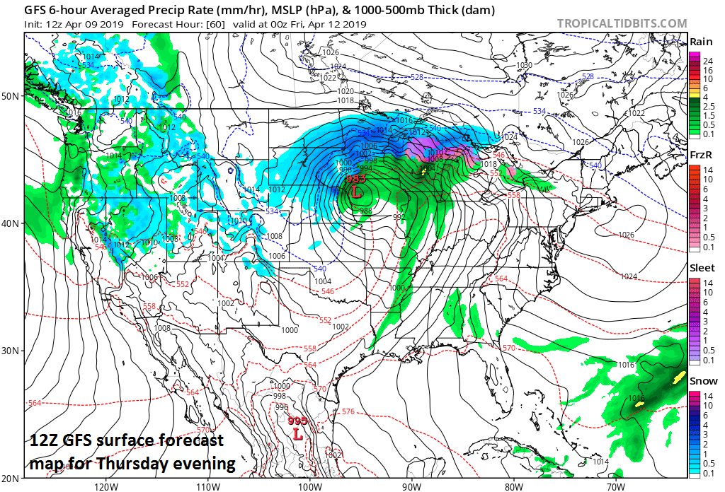 Powerful storm system by Thursday will generate wind gusts past 50 mph and this combined with heavy, wet snow can result in widespread power outages across the central and northern Plains; courtesy NOAA, tropicaltidbits.com
