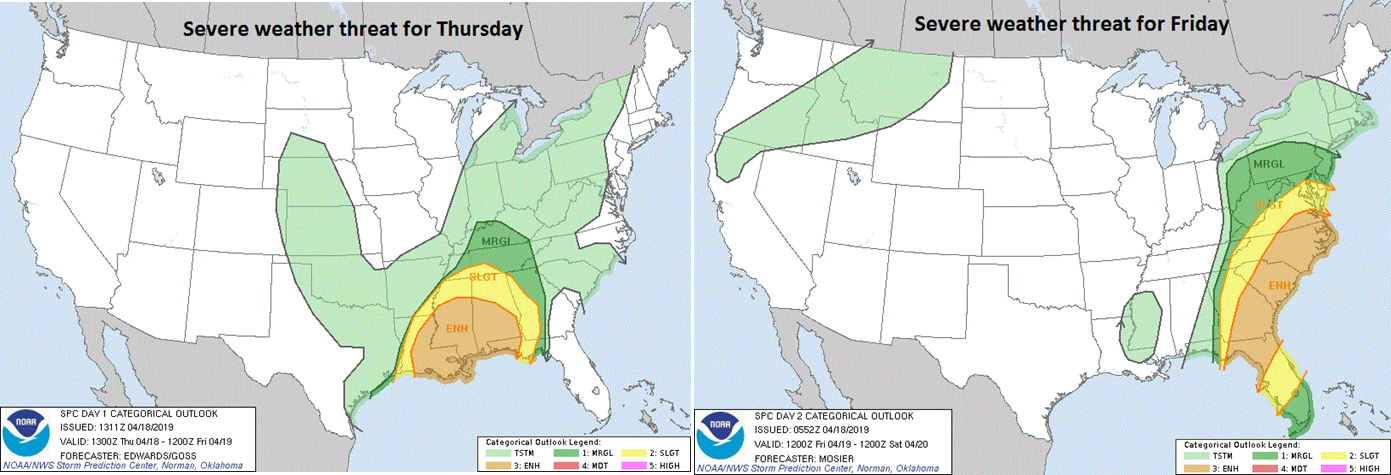 NOAA's Storm Prediction Center (SPC) forecast map of severe weather probabilities today (left) and Friday (right) with greatest potential shifting from the Deep South to the east coast