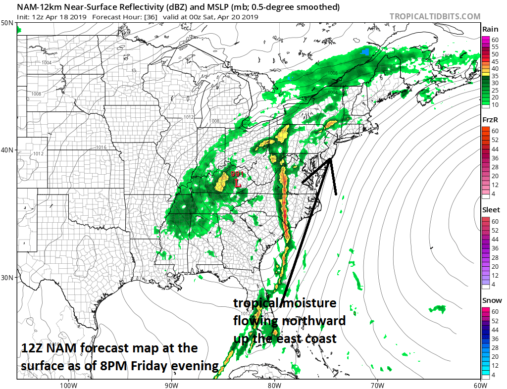 Tropical moisture will flow up the east coast on Friday and combine with strong upper-level energy to produce heavy rain and potential severe weather; map courtesy NOAA/EMC, tropicaltidbits.com