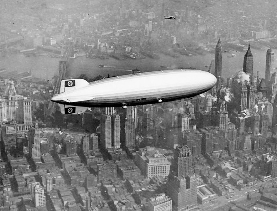 The  Hindenburg  over Manhattan, New York on May 6, 1937, shortly before the disaster
