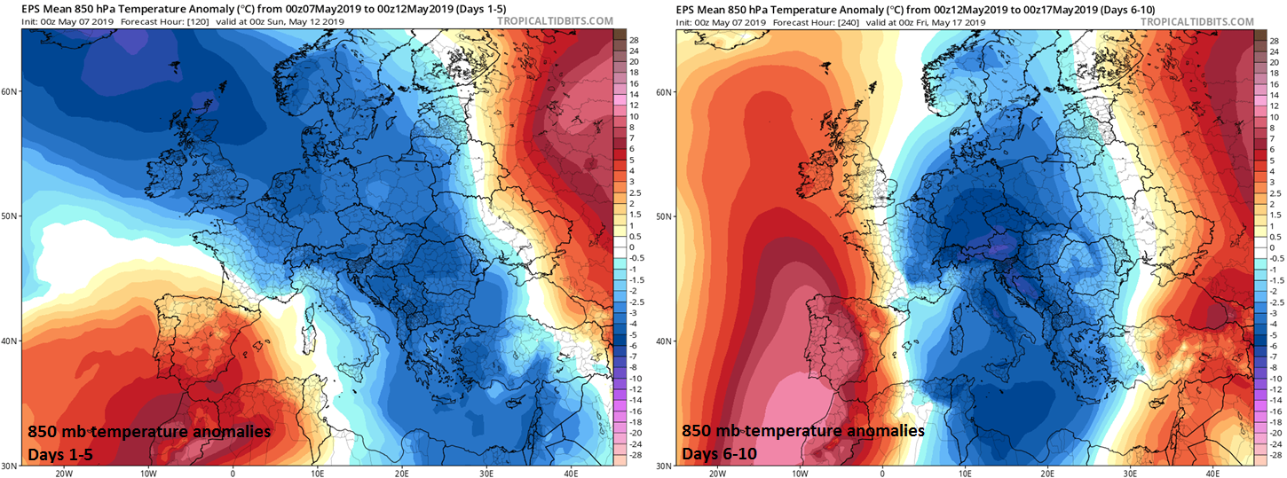 Much of the European continent will be colder-than-normal in days 1-5 (left) and days 6-10 (right); courtesy ECMWF, tropicaltidbits.com