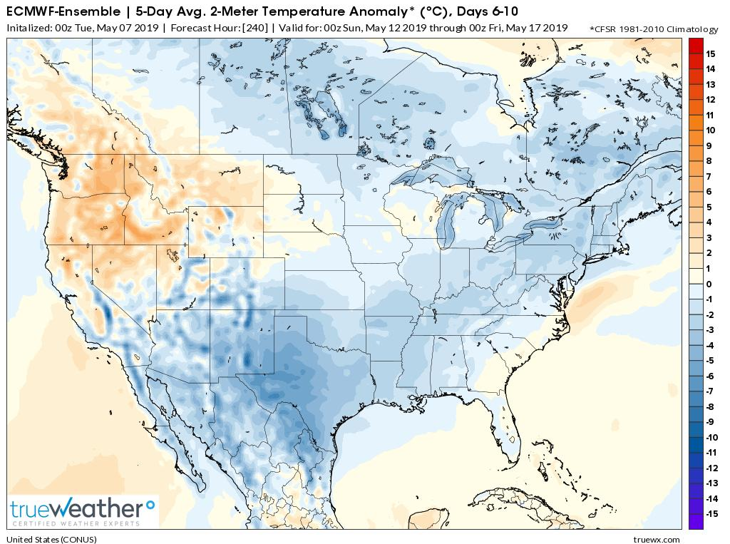 Much of Canada and the US will average out colder-than-normal in the days 6-10 time period (May 12-May 17); courtesy ECMWF, truewx.com