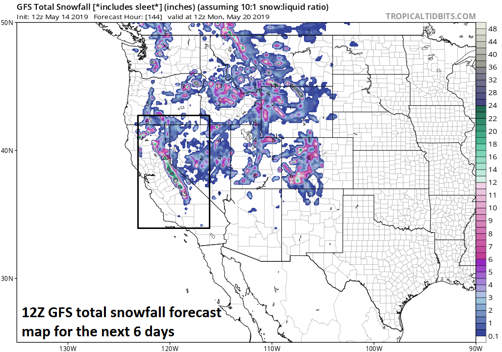 Another round of significant snowfall is coming to the Sierra Nevada mountains in California; courtesy NOAA/EMC, tropicaltidbits.com  Meteorologist Paul Dorian Perspecta, Inc.  perspectaweather.com