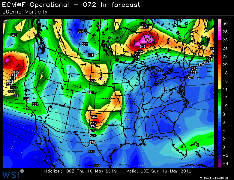 00Z Euro forecast map of 500 mb vorticity for Saturday evening; courtesy ECMWF, WSI., Inc.