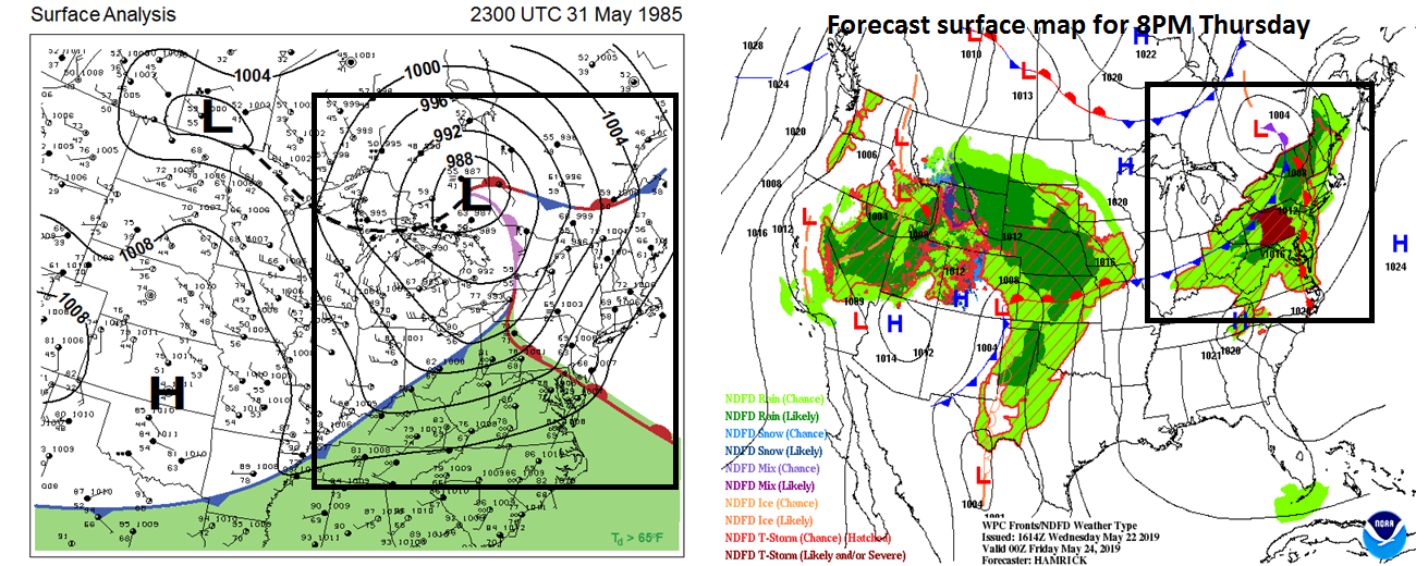 There are some similarities to today's atmospheric setup and that which resulted in an outbreak of tornadoes across Pennsylvania on May 31, 1985 (surface map 5/31/85 on left, surface forecast map for this evening on right).