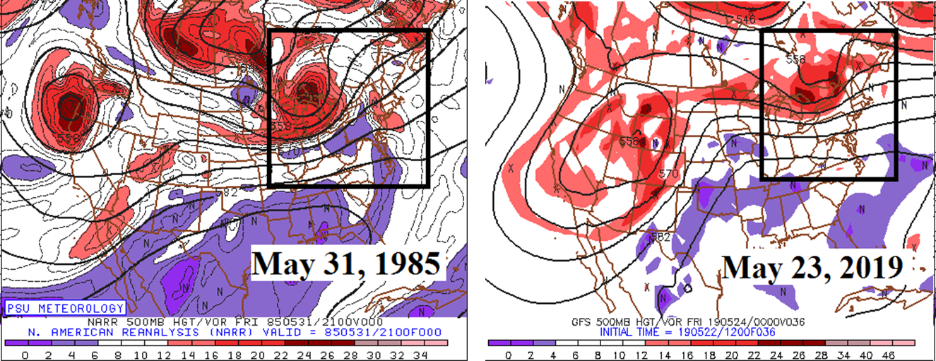 There are some similarities to today's atmospheric setup and that which resulted in an outbreak of tornadoes across Pennsylvania on May 31, 1985 (500 mb map 5/31/85 on left, 500 mb forecast map for this evening on right).