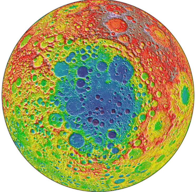 This image, created with data from NASA's Lunar Reconnaissance Orbiter, shows the pockmarked surface of the moon's far side. The South Pole-Aitken Basin, shown here in shades of blue, is the oldest and largest known impact basin in the solar system, spanning some 1,550 miles. Courtesy NASA/GSFC
