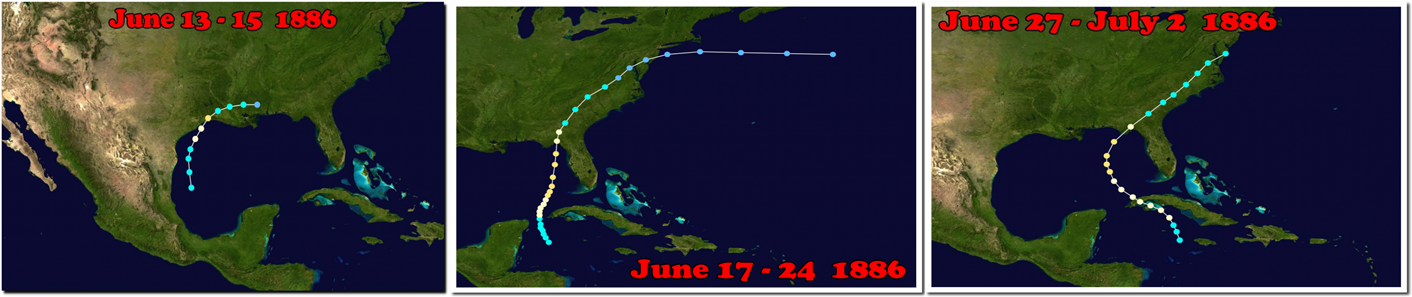 These were the three category two hurricanes which hit the US during June, 1886. Source  Wikipedia