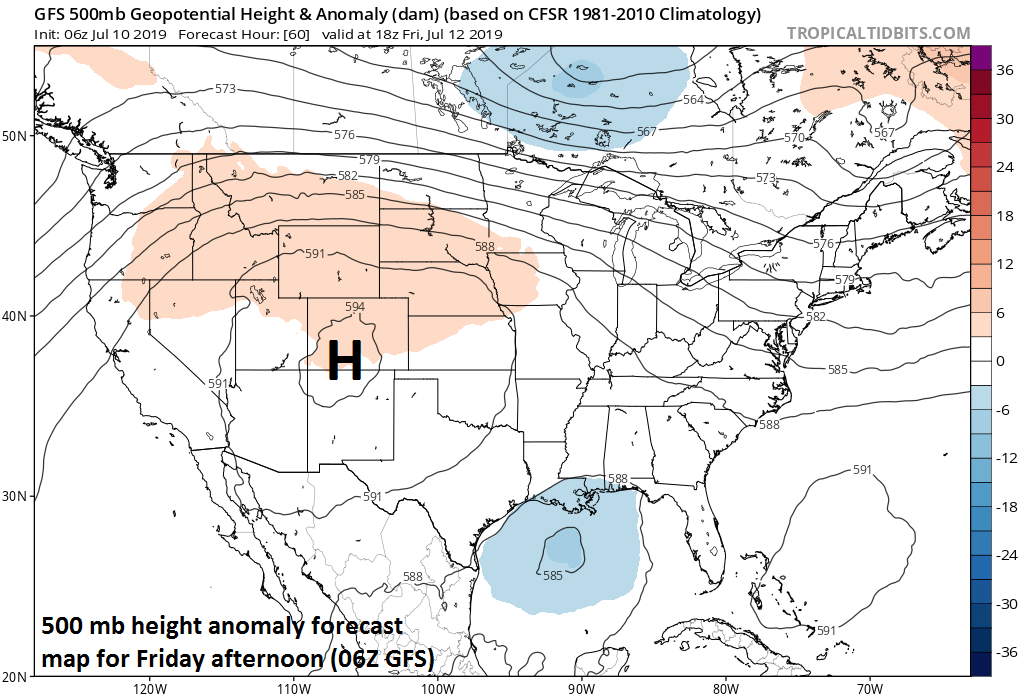 "Strong ridge to the northwest will be a key player in the eventual path and movement of what will be named ""Barry""; courtesy NOAA/EMC, tropicaltidbits.com"