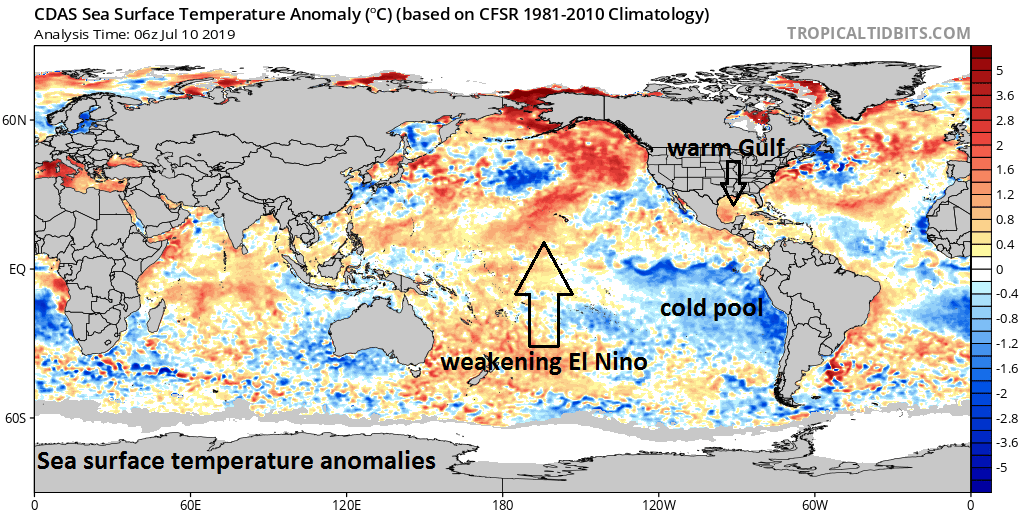 "Current sea surface temperature anomalies are showing warmer-than-normal conditions in the Gulf of Mexico which will aid in the intensification of soon-to-be-named ""Barry, a weakening El Nino in the central Pacific and a large pool of colder-than-normal water to the west of South America; courtesy NOAA, tropicaltidbits.com"