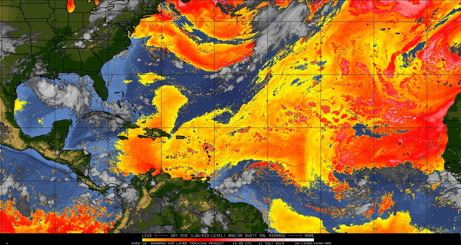 Dry (Saharan Desert) air dominates the scene in the tropical Atlantic and this will continue to be an inhibiting factor for tropical storm development in the eastern Atlantic; courtesy CIMSS/Wisconsin, NOAA