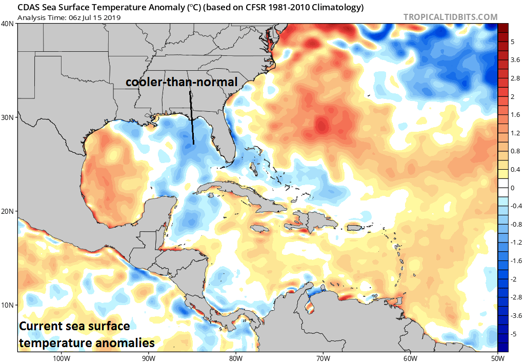 The slow movement of Barry over the Gulf of Mexico resulted in strong upwelling which brought cooler-than-normal water to the surface which will inhibit tropical activity for the next few days; courtesy NOAA, tropicaltidbits.com