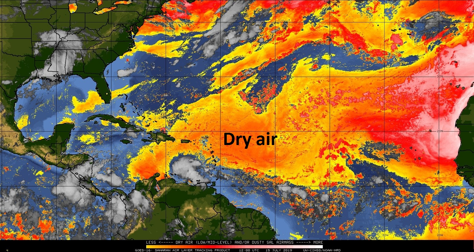 "There is lots of dry (Saharan Dust) air over the Atlantic Ocean (indicted by orange, red) and this will continue to inhibit the formation of ""African-wave"" type tropical storms; courtesy NOAA, University of Wisconsin/CIMSS"