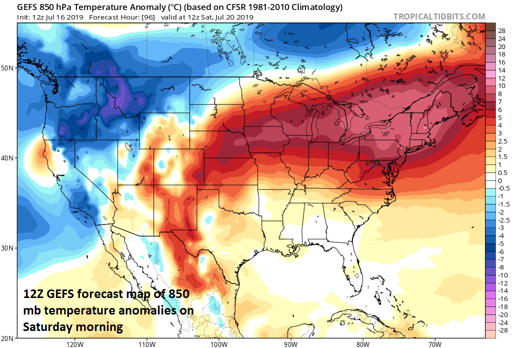 A major heat wave will be experienced this weekend in the Mid-Atlantic, NE US and Midwest; 850 temperature anomalies forecast map courtesy NOAA, tropicaltidbits.com