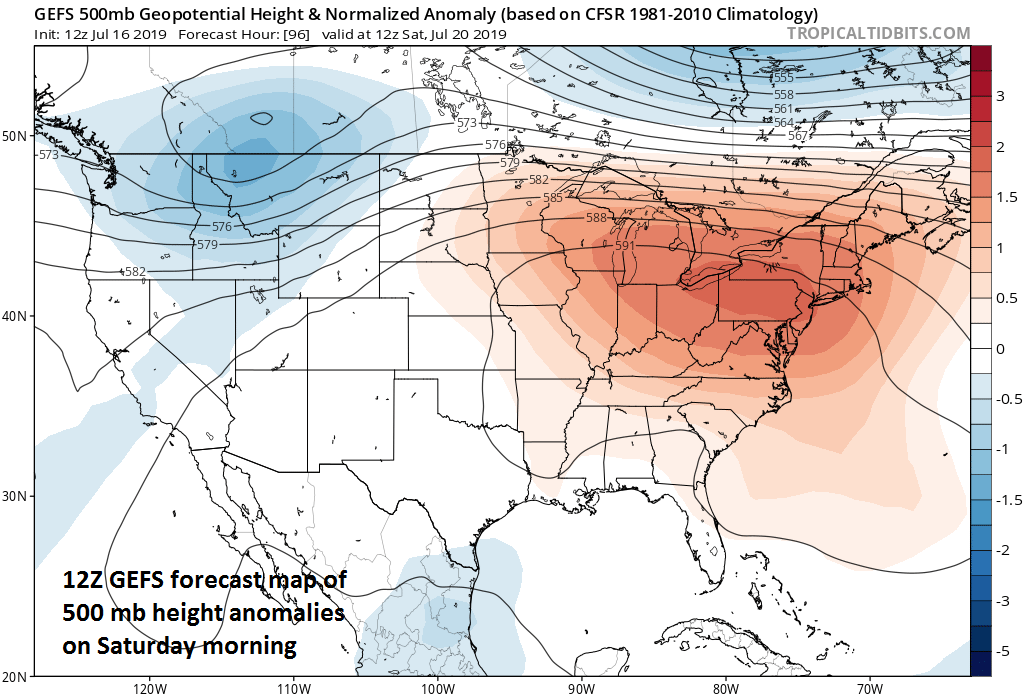 Strong ridging aloft will contribute to excessive heat at the surface this weekend in the Mid-Atlantic, NE US and Midwest; 500 mb height anomalies forecast map courtesy NOAA, tropicaltidbits.com