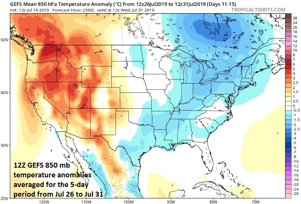 Cooler-than-normal air is destined to returned to the eastern third of the nation for the latter part of July; courtesy NOAA, tropicatidbits.com  Meteorologist Paul Dorian Perspecta, Inc.  perspectaweather.com