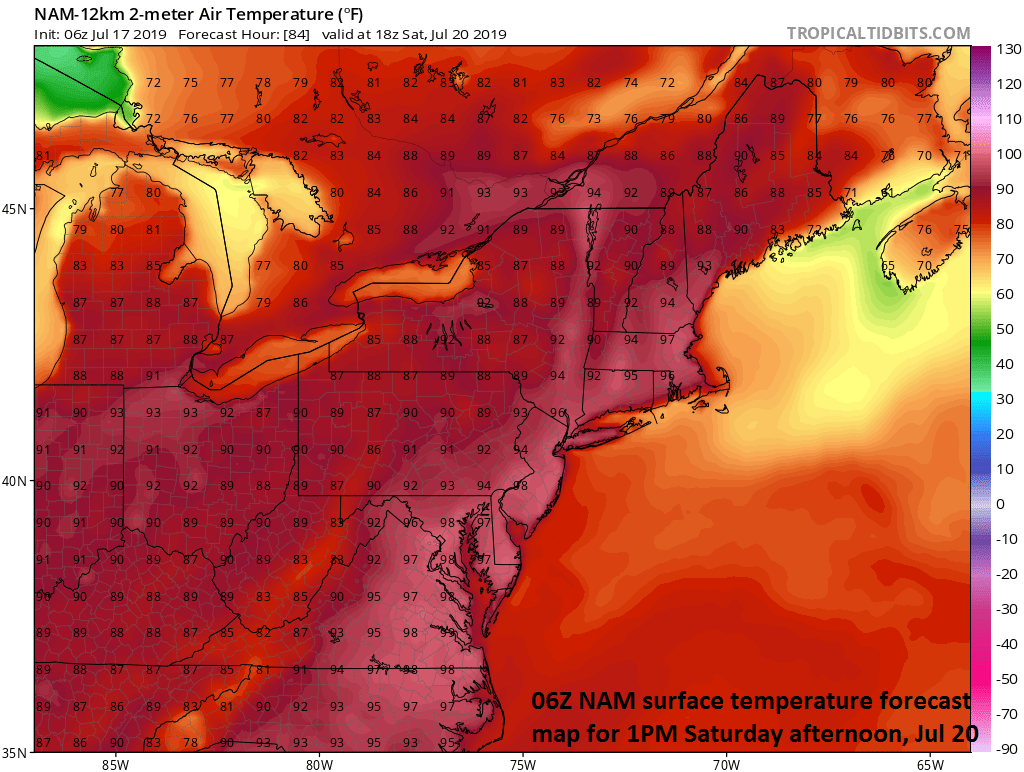 The forecast map of high temperatures on Saturday afternoon feature a large swath of mid-to-upper 90's and 100 degrees is on the table in urban locations along I-95. courtesy NOAA, tropicaltidbits.com