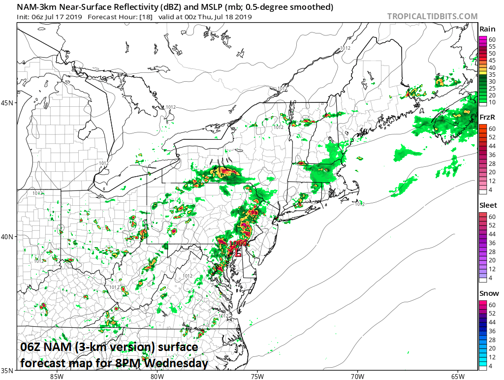 Strong-to-severe thunderstorms with torrential rainfall are likely later today/tonight in the Mid-Atlantic region as Barry's remains pass through the area. The 06Z NAM model forecast map at 8pm features a line of storms in the I-95 corridor. Courtesy NOAA, tropicaltidbits.com