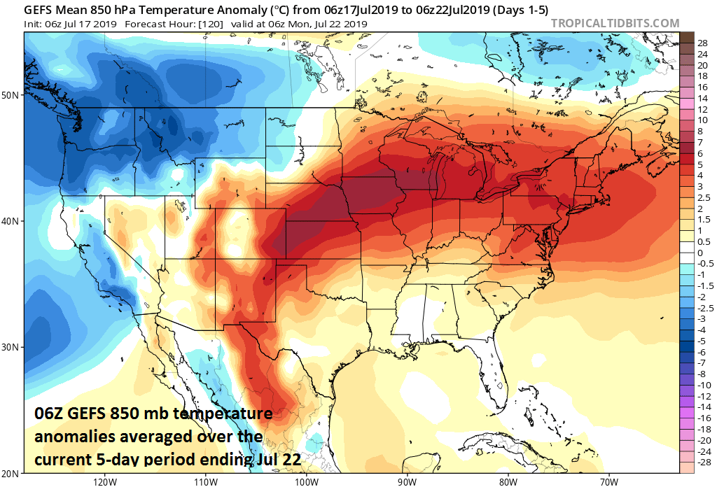 A major heat wave will grip the Midwest, Mid-Atlantic, and NE US over the next 5-days with a large area of above-normal 850 mb temperatures as depicted by the 06Z GEFS computer forecast model; courtesy NOAA, tropicaltidbits.com