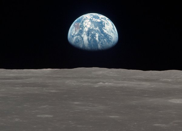 """One of the most universal and famous images in history known as """"Earth Rising"""" (courtesy NASA)"""