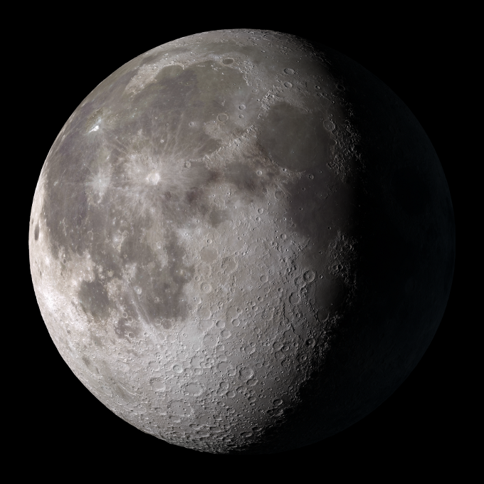 Lots of impact craters are visible on the moon's surface as a result of a very thin atmosphere.