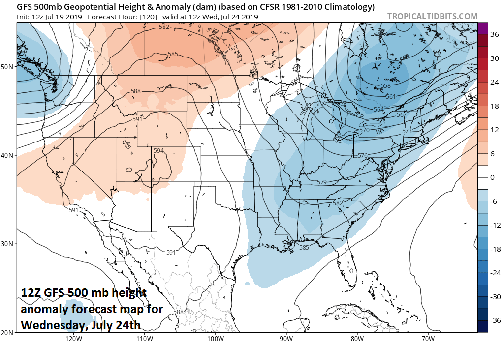 A strong trough of low pressure will develop in the eastern US by the middle of next week leading to much cooler conditions compared to the heat wave this weekend. Courtesy NOAA, tropicaltidbits.com