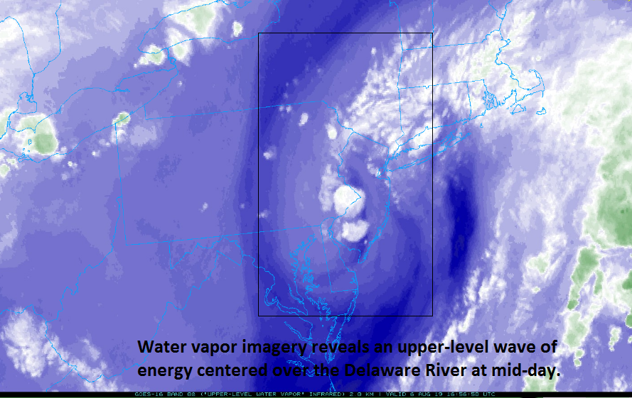 A comma-shaped featured revealed by water vapor imagery at mid-day is the area where powerful thunderstorms have formed; courtesy NOAA, College of DuPage