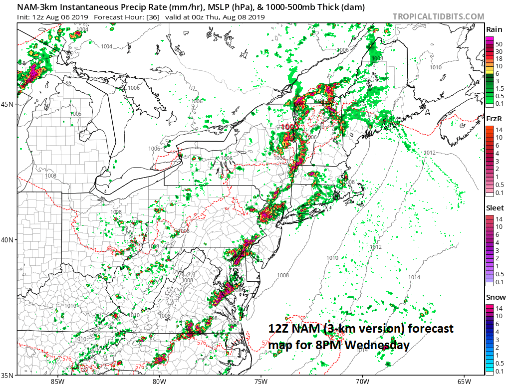 A fairly solid line of thunderstorms will stretch late tomorrow from near DC to interior New England as depicted by the 12Z NAM computer forecast model; courtesy NOAA, tropicaltidbits.com