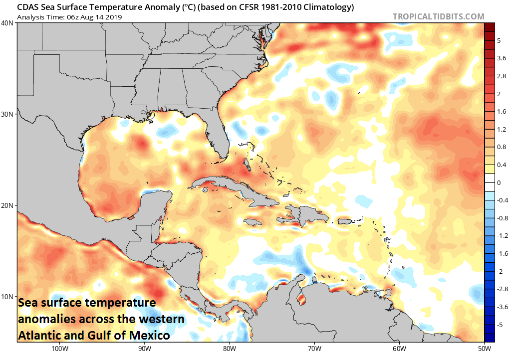 Warmer-than-normal sea surface temperatures have returned to the Gulf of Mexico; courtesy NOAA, tropicaltidbits.com