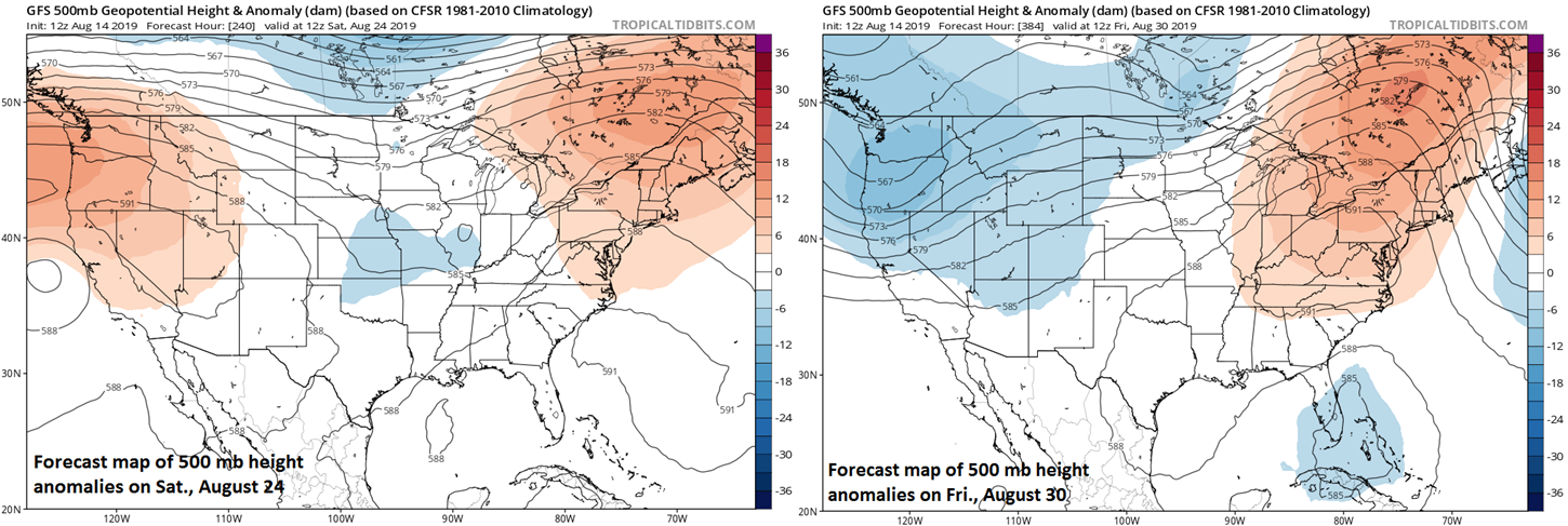 High pressure ridging aloft may dominate the pattern later this month in the NE US and SE Canada; courtesy NOAA, tropicaltidbits.com