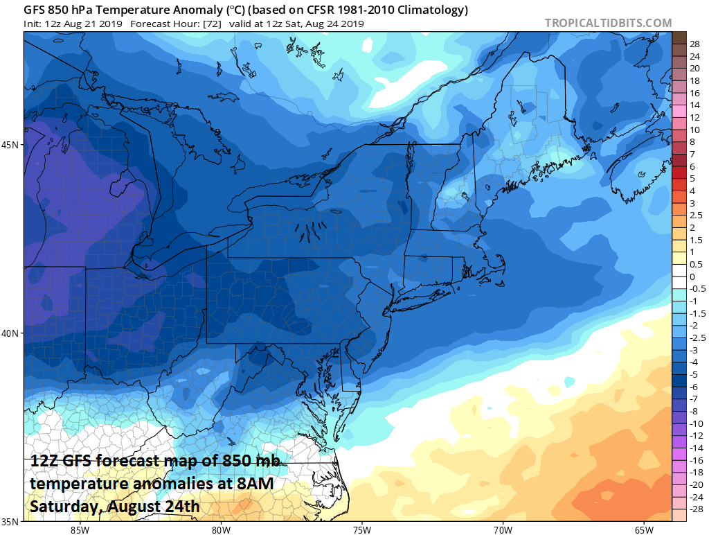 A much cooler air mass arrives in the Mid-Atlantic region on Friday and temperatures should remain below-normal on Saturday and Sunday as well; courtesy NOAA, tropicaltidbits.com