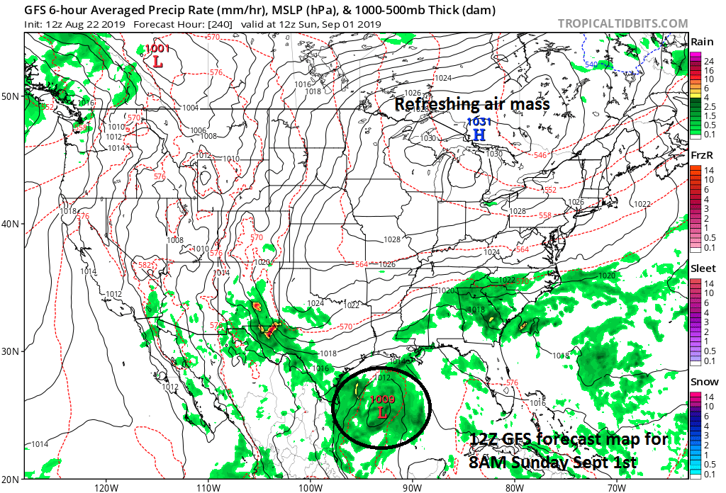 2Z GFS forecast map at 8AM Sunday, September 1st with strong high pressure again situated to our north and west anchoring a second refreshing air mass for this time of year. Low pressure is predicted to be over the western Gulf of Mexico where sea surface temperatures are running at above-normal levels. Courtesy NOAA, tropicaltidbits.com