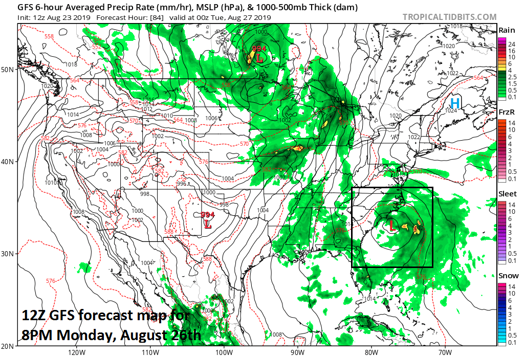 12Z GFS forecast map for Monday evening indicates low pressure off the Carolina coastline and this could be a named ('Dorian') tropical storm by this time; courtesy NOAA, tropicaltidbits.com